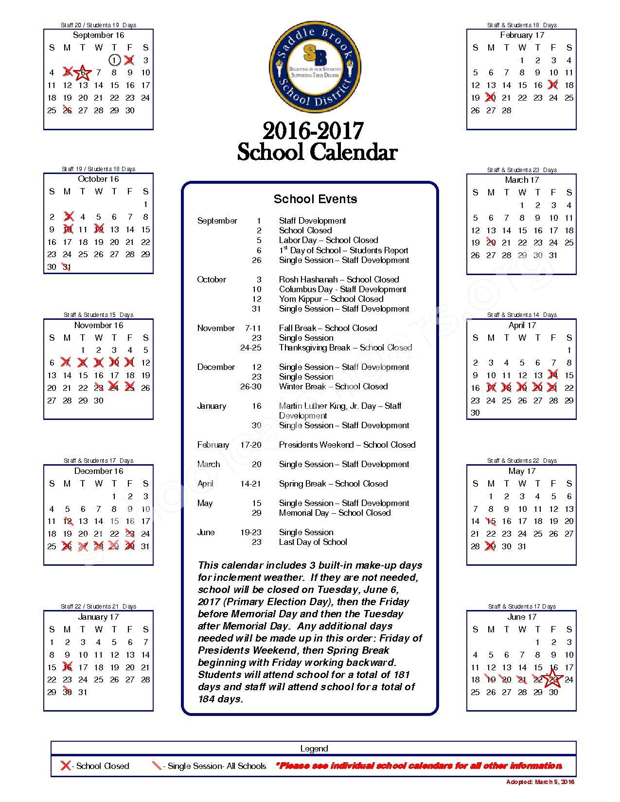 2016 - 2017  District Calendar – Washington – page 1