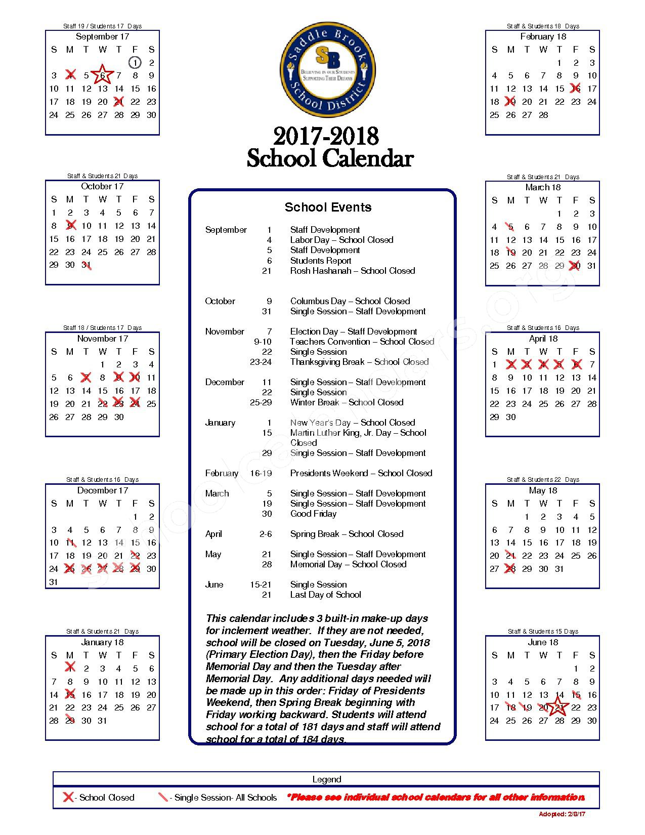 2017 - 2018 District Calendar – Saddle Brook School District – page 1