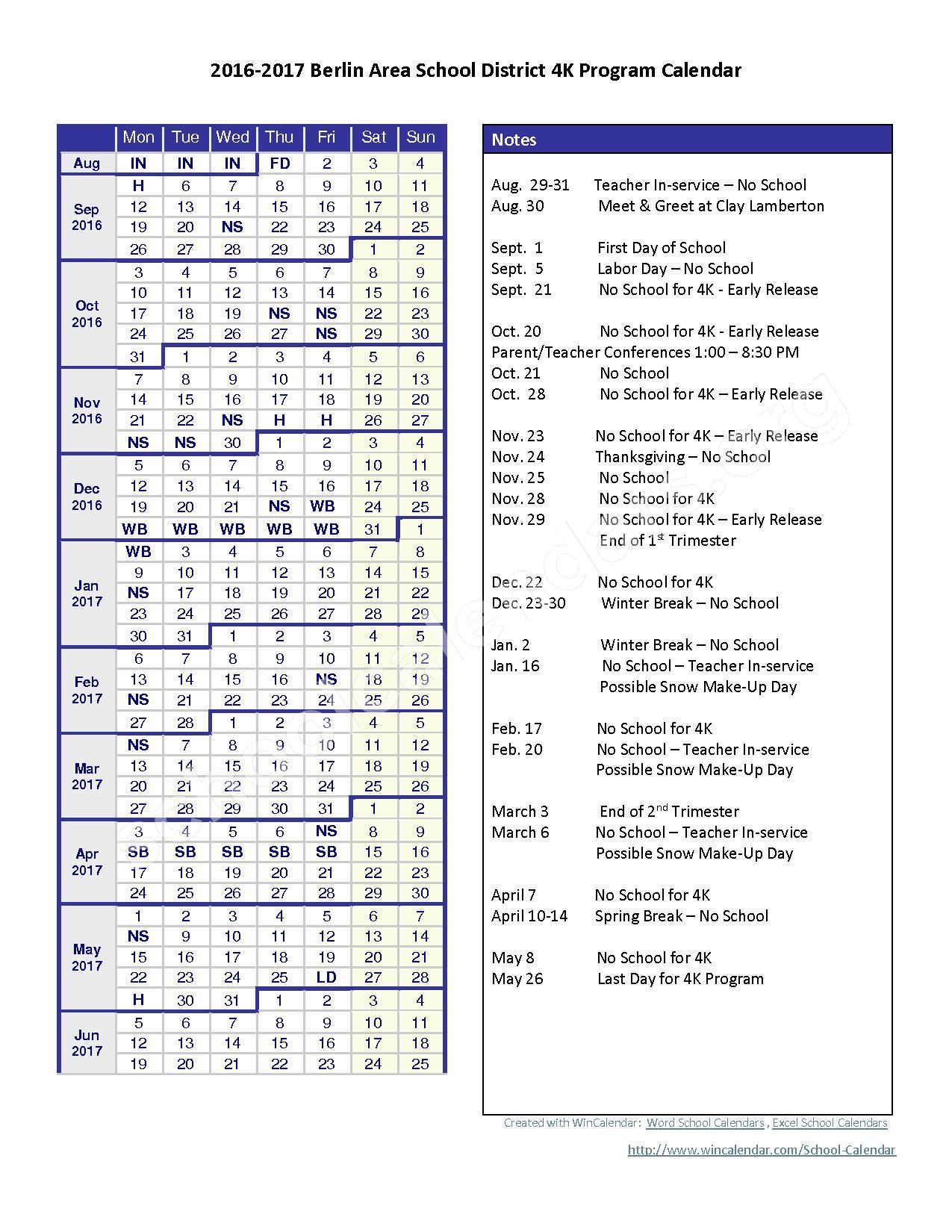 2016 - 2017 School Calendar – Berlin Area School District – page 1