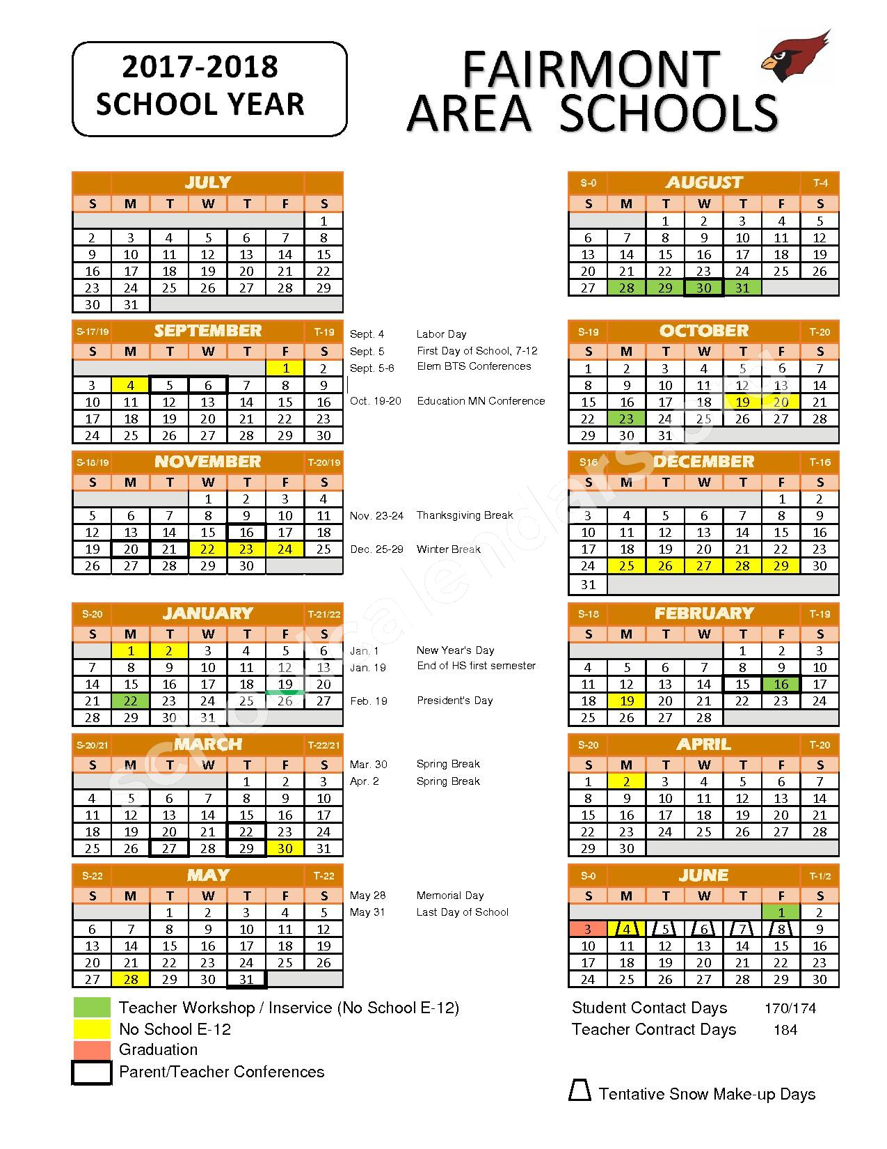 2017 - 2018 School Calendar – Fairmont Area School District – page 1