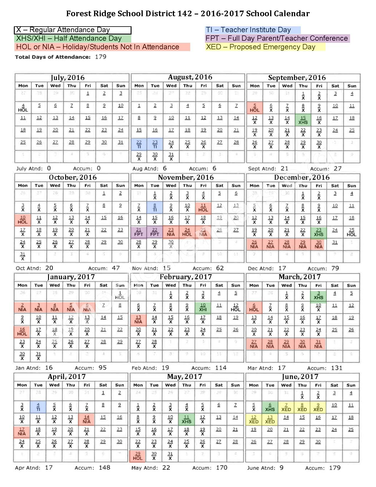 2016 - 2017 School Calendar – Forest Ridge School District 142 – page 1