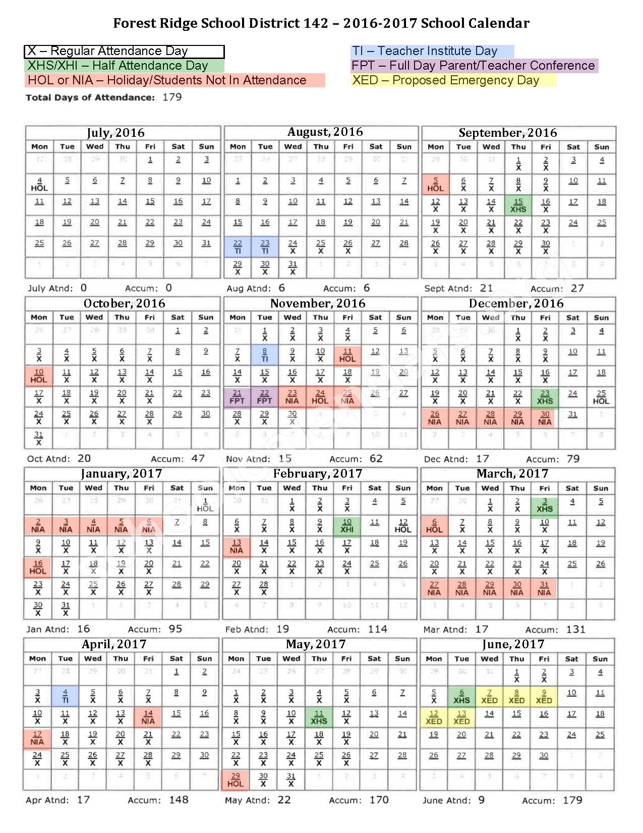 2016 - 2017 School Calendar – Lee R Foster Elementary School – page 1