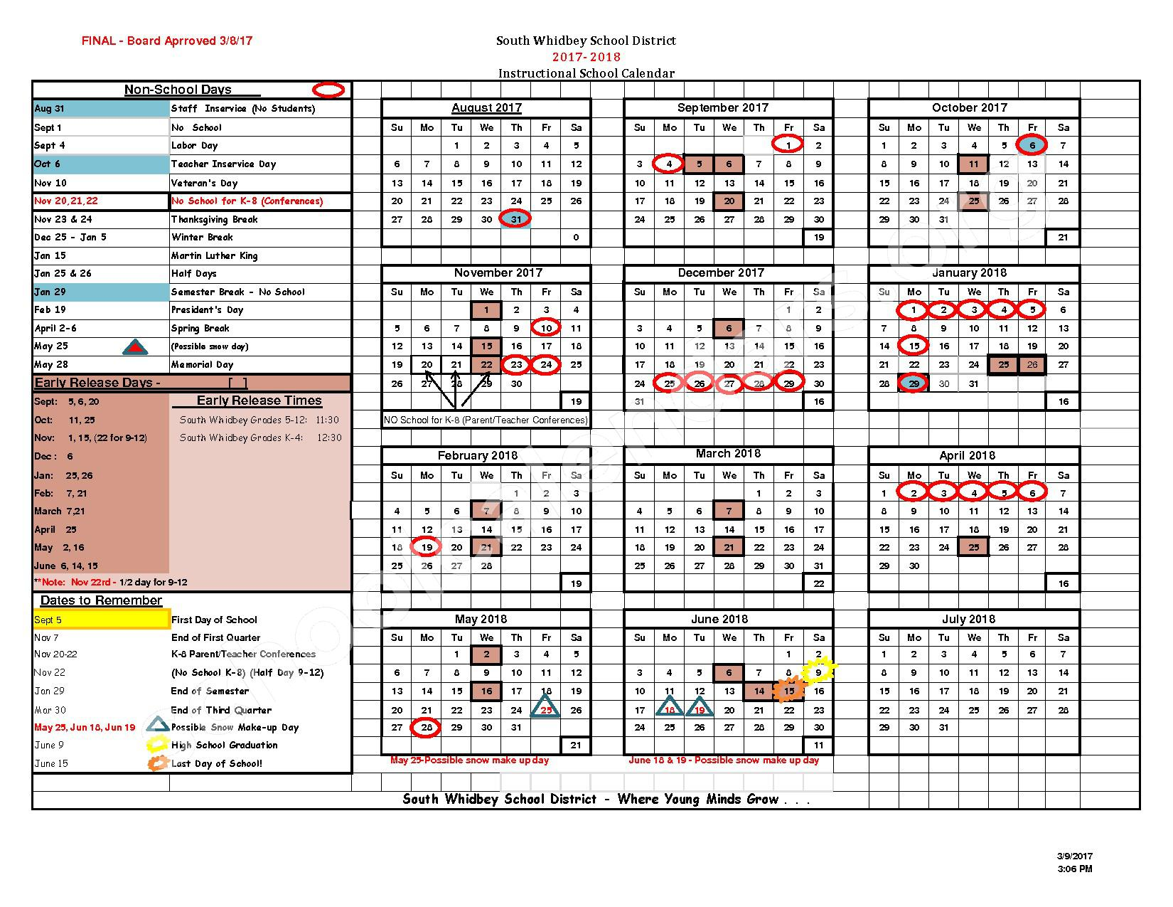 2017 - 2018 District Calendar – South Whidbey High School – page 1