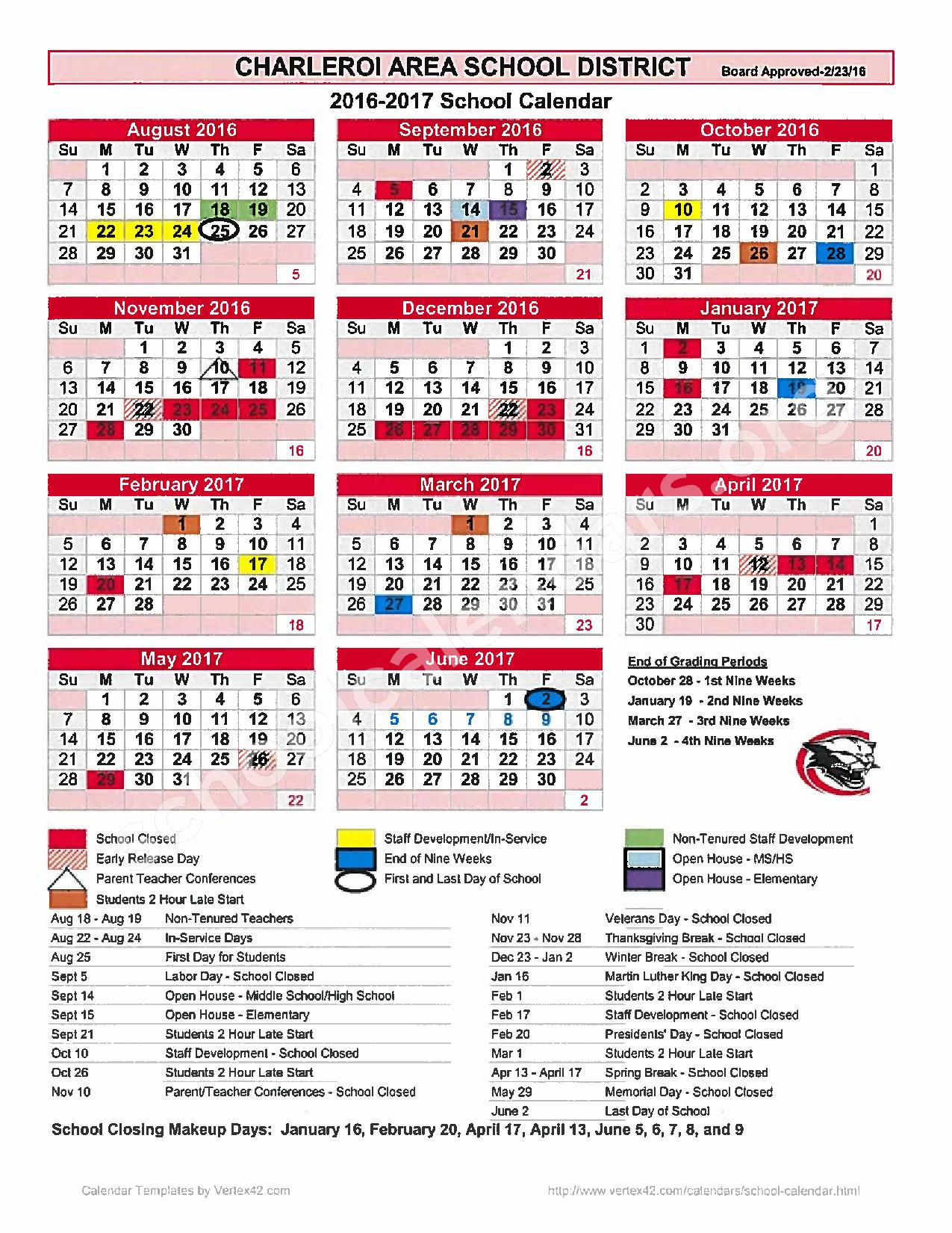 2016 - 2017 District Calendar – Charleroi School District – page 1