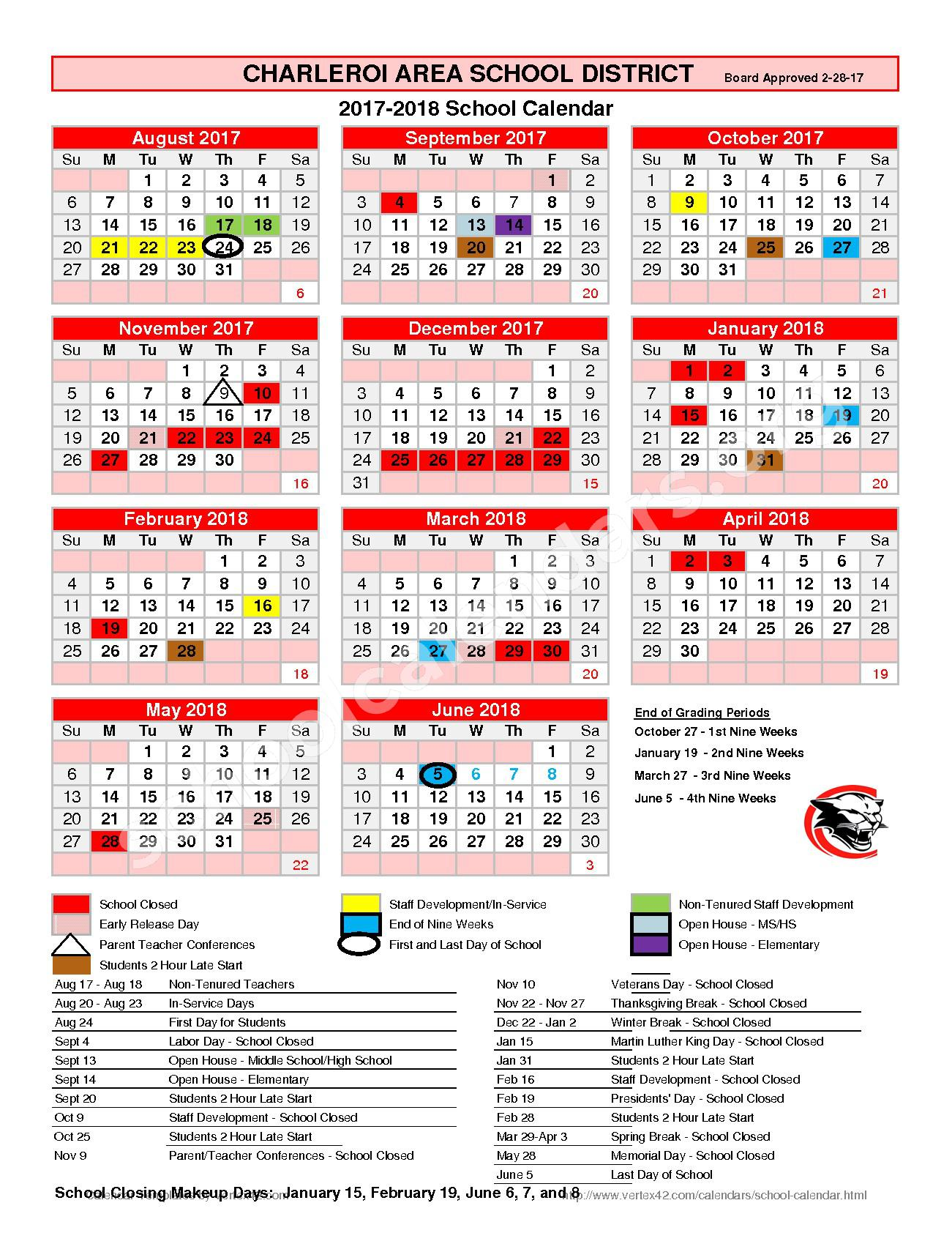 2017 - 2018 District Calendar – Charleroi Area Elementary Center – page 1