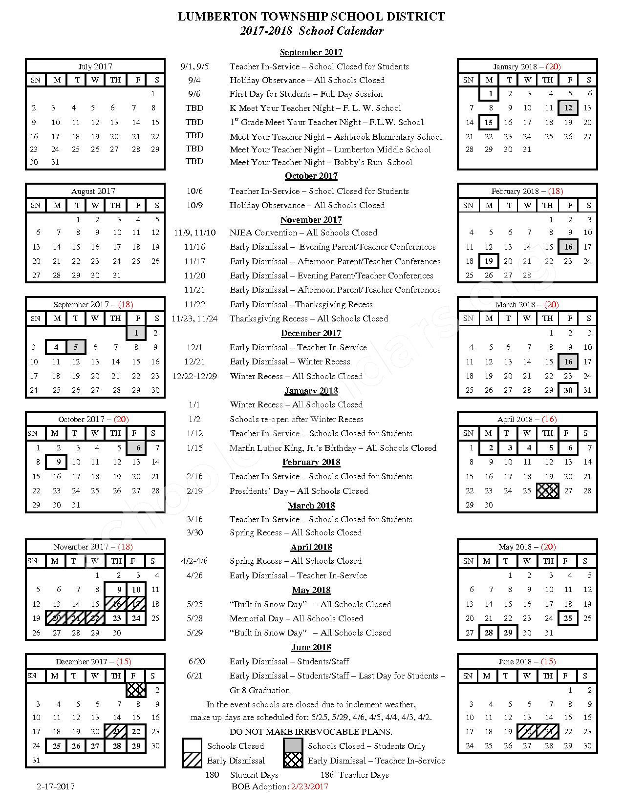 2017 - 2018 School Calendar – Lumberton Township School District – page 1