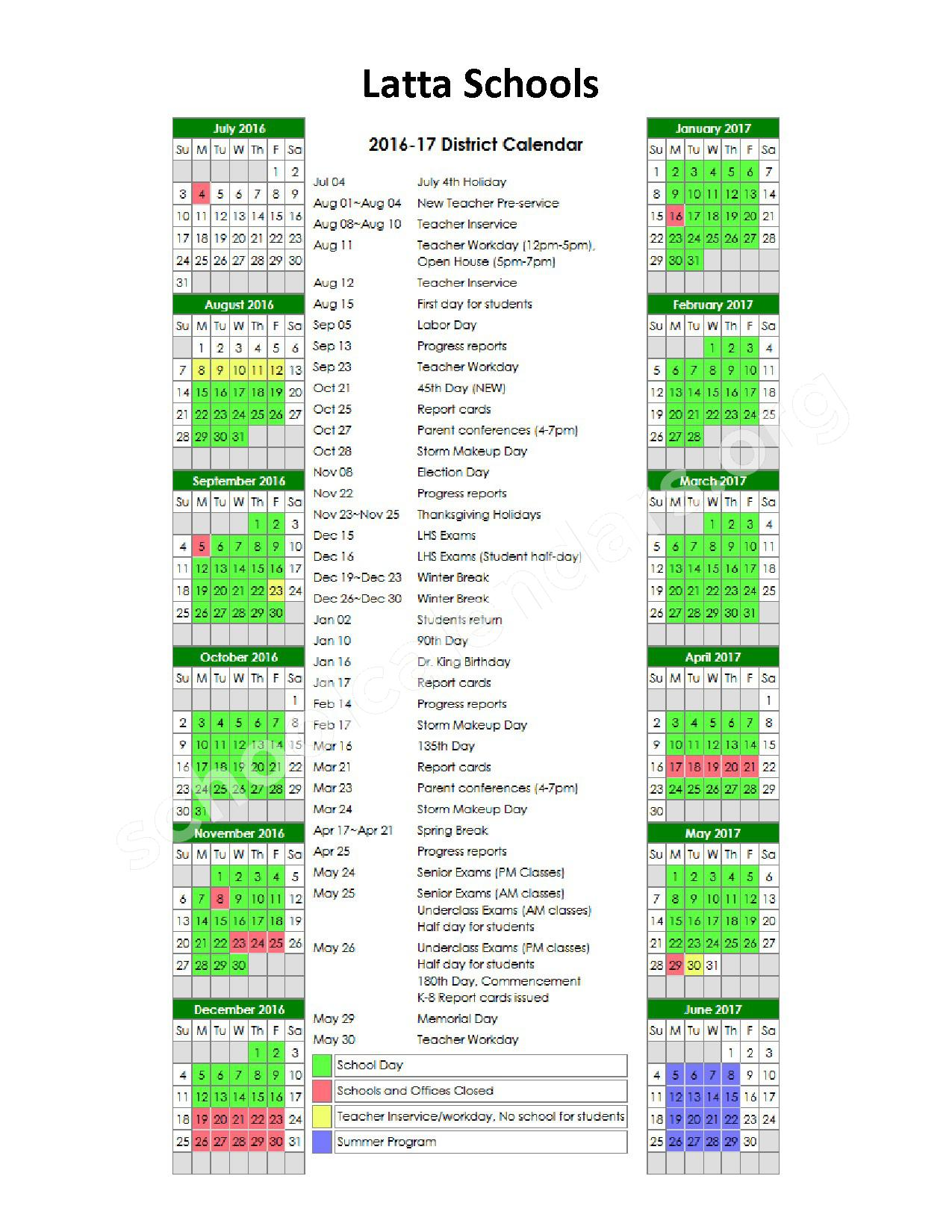 2016 - 2017 School Calendar – Latta Schools - Dillon School District 3 – page 1