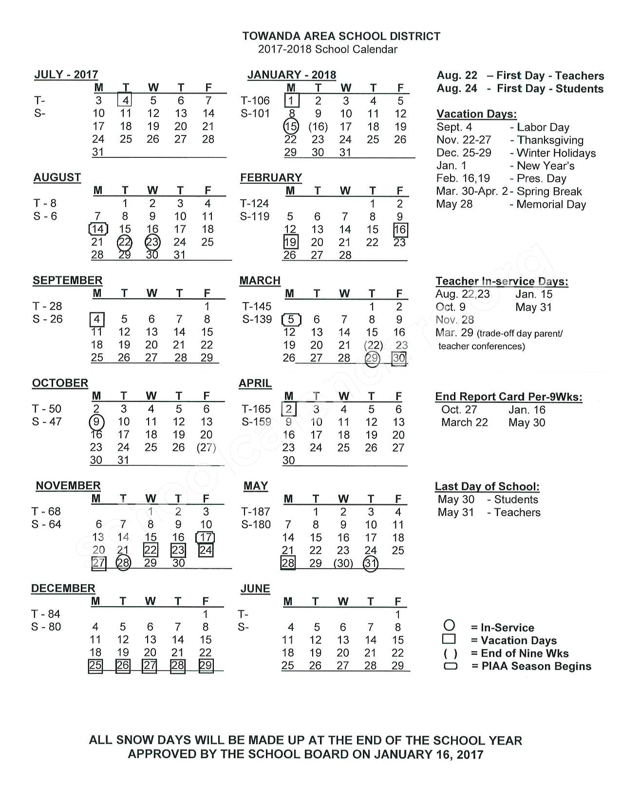 2017 - 2018 School Calendar – Towanda Area School District – page 1