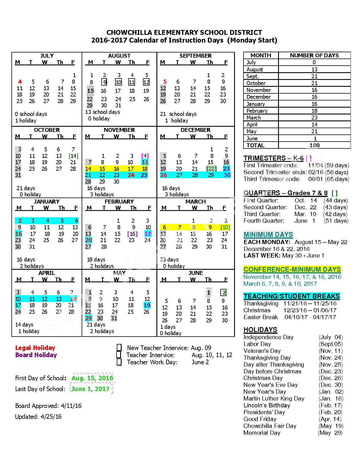 2016 - 2017 District Calendar – Chowchilla Elementary School District – page 1
