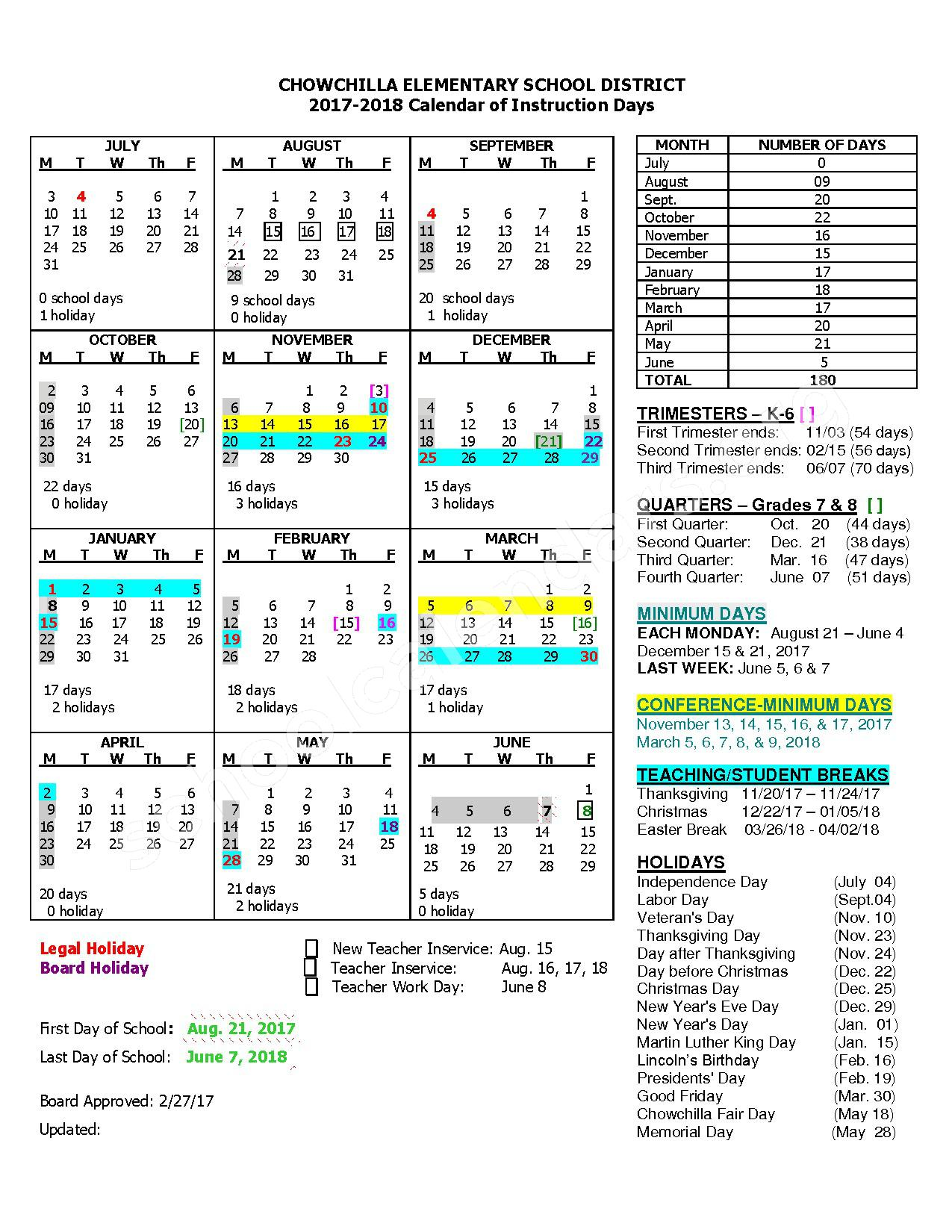 2017 - 2018 Elementary District Calendar – Chowchilla Elementary School District – page 1