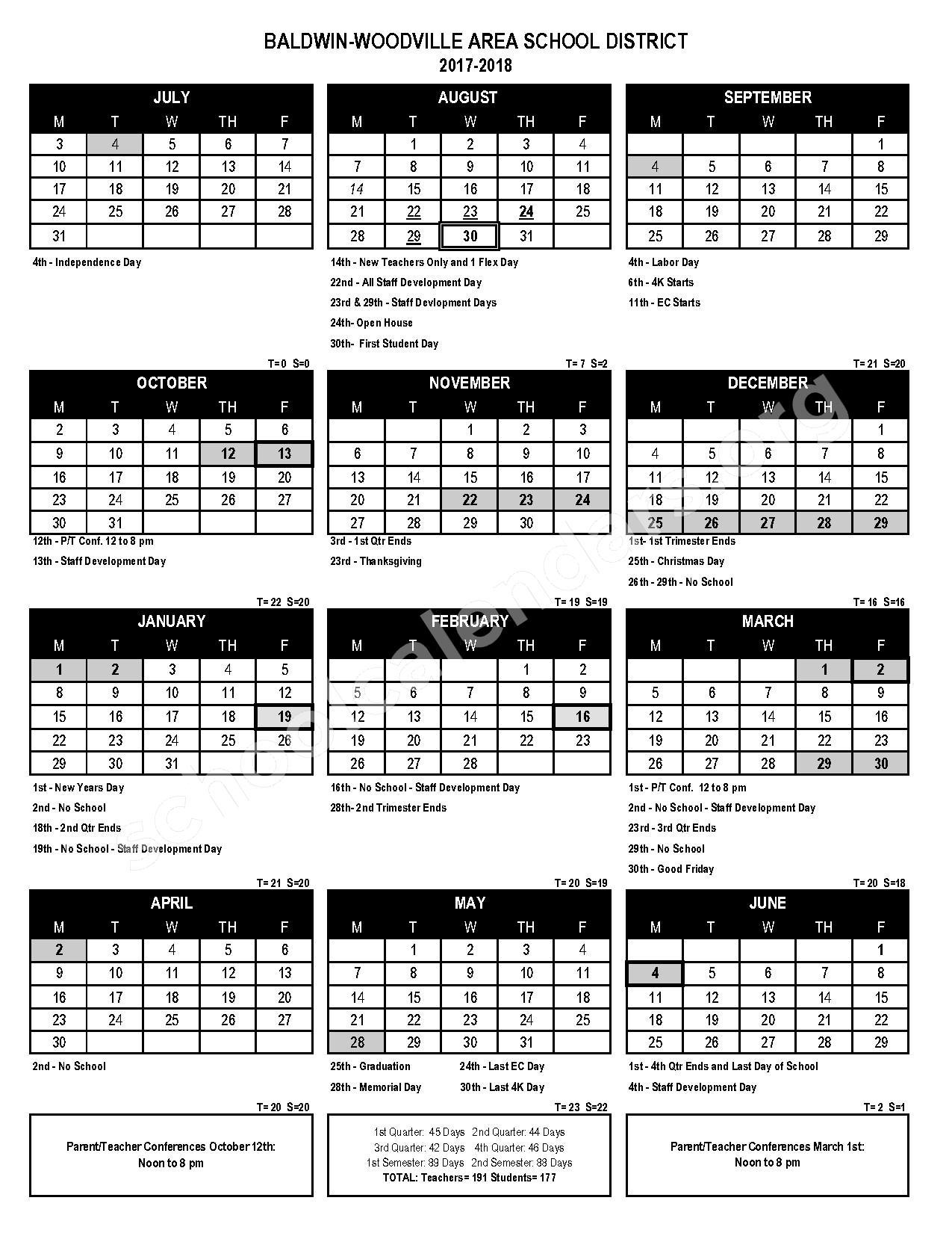 2017 - 2018 School Calendar – Baldwin-Woodville Area School District – page 1