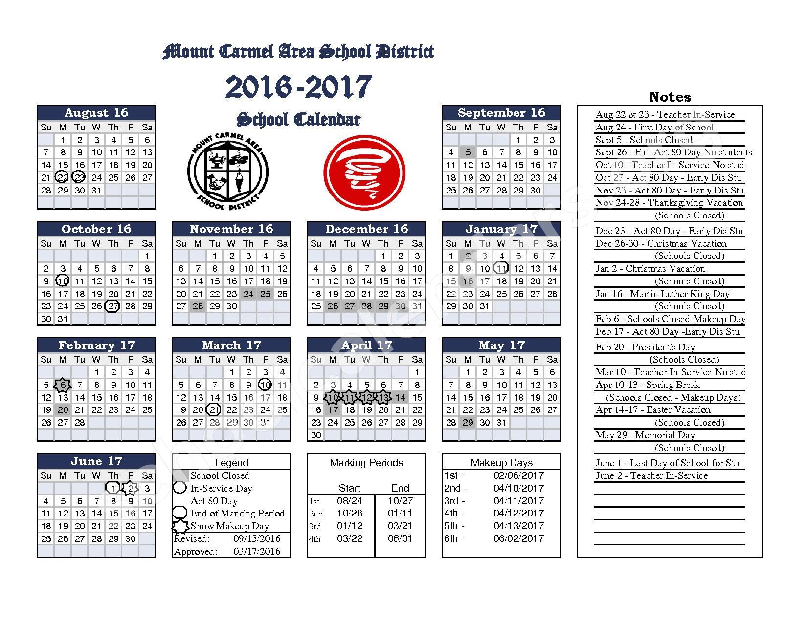 2015 - 2017 District Calendar – Mount Carmel Area Junior High School – page 1