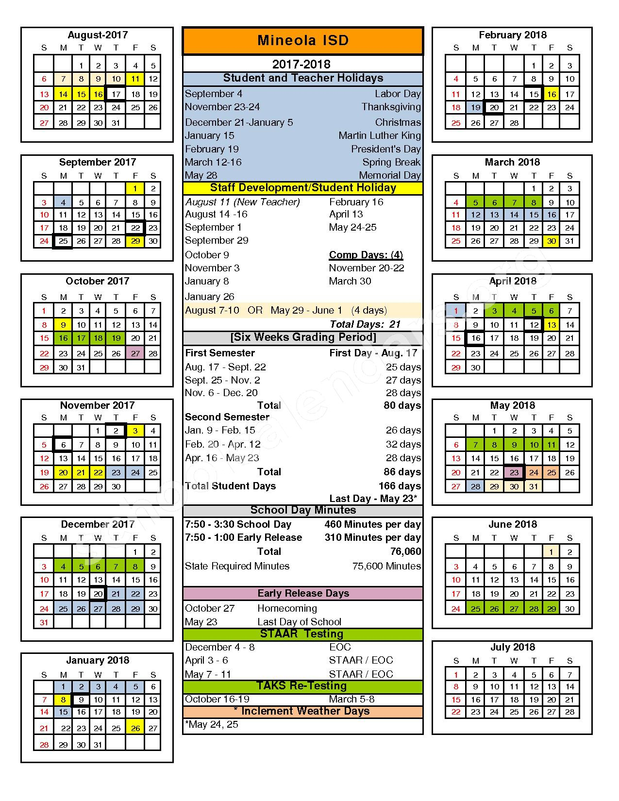 2017 - 2018 District Calendar – Mineola Independent School District – page 1