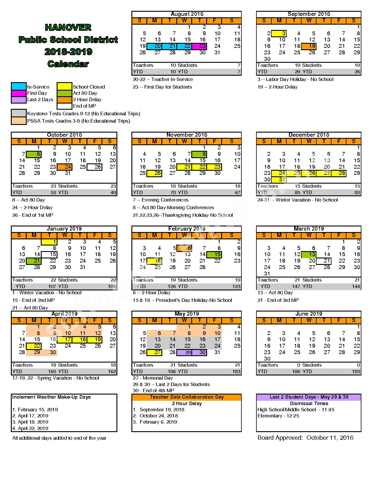 2018 - 2019 District Calendar – Hanover Public School District – page 1