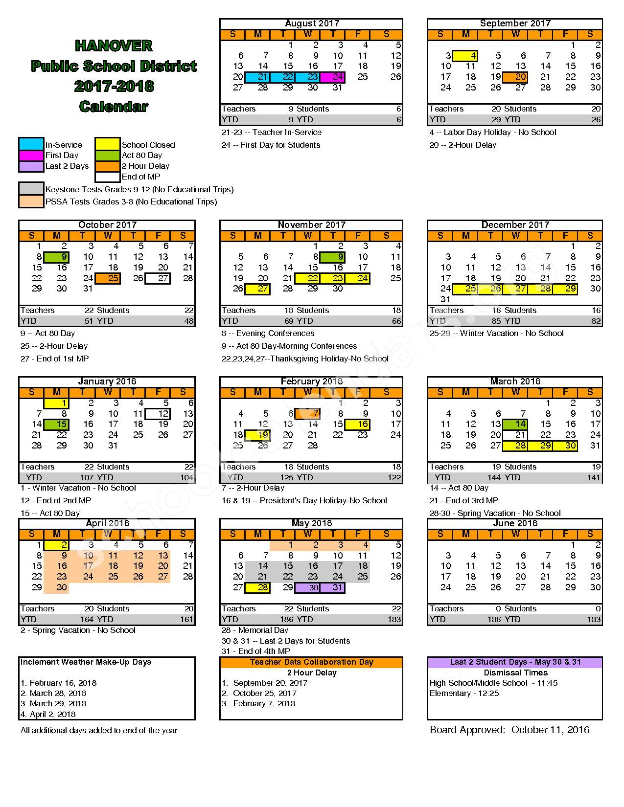 2017 - 2018 District Calendar – Hanover Public School District – page 1