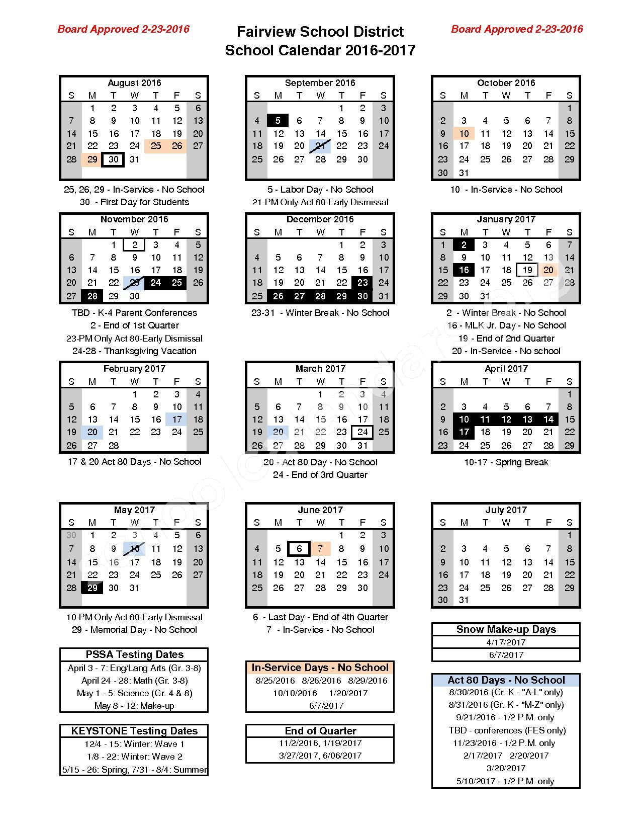 2016 - 2017 School Calendar – Fairview School District – page 1