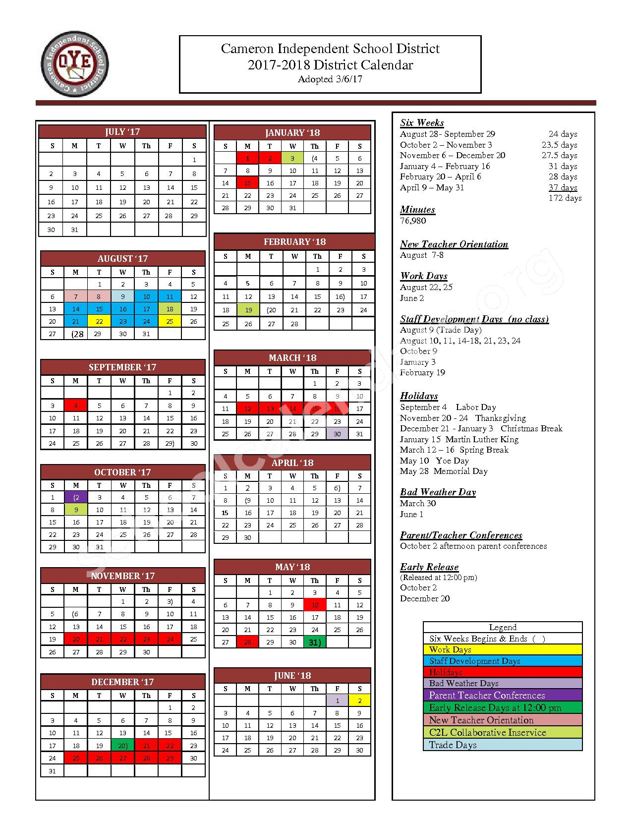 2017 - 2018 District Calendar – Cameron Independent School District – page 1