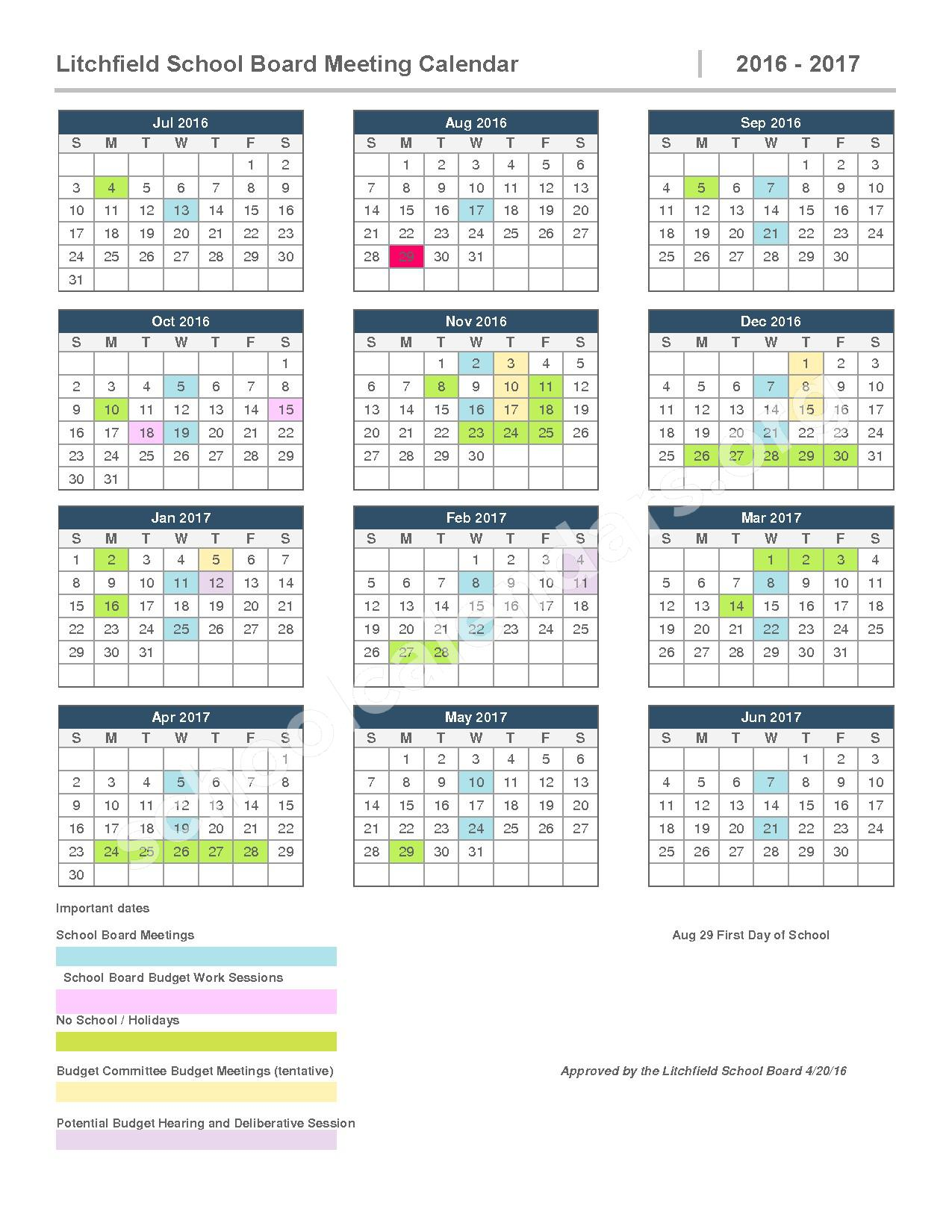 2016 - 2017 School Board Meeting Calendar – SAU 27 - Litchfield School District – page 1