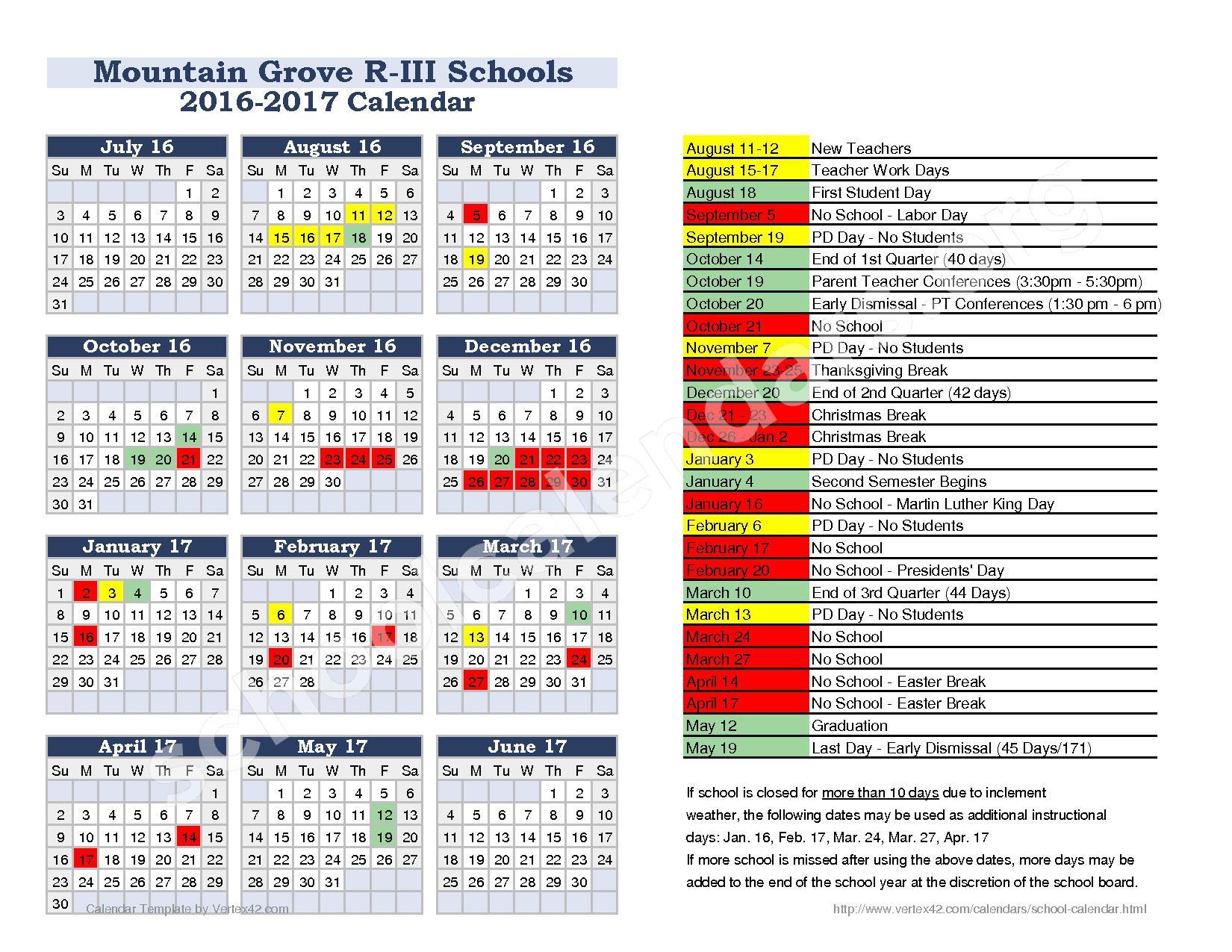 2016 - 2017  District Calendar – Ozark Mountain Technical Center – page 1