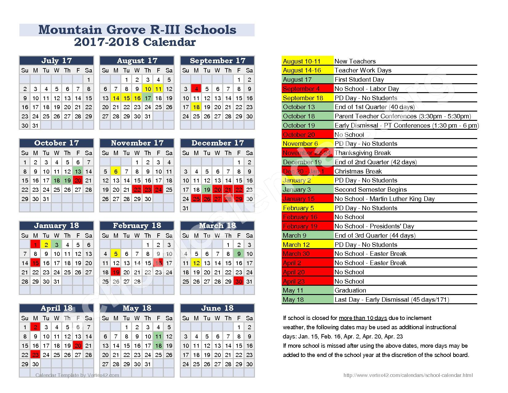 2017 - 2018 District Calendar – Mountain Grove Schools – page 1