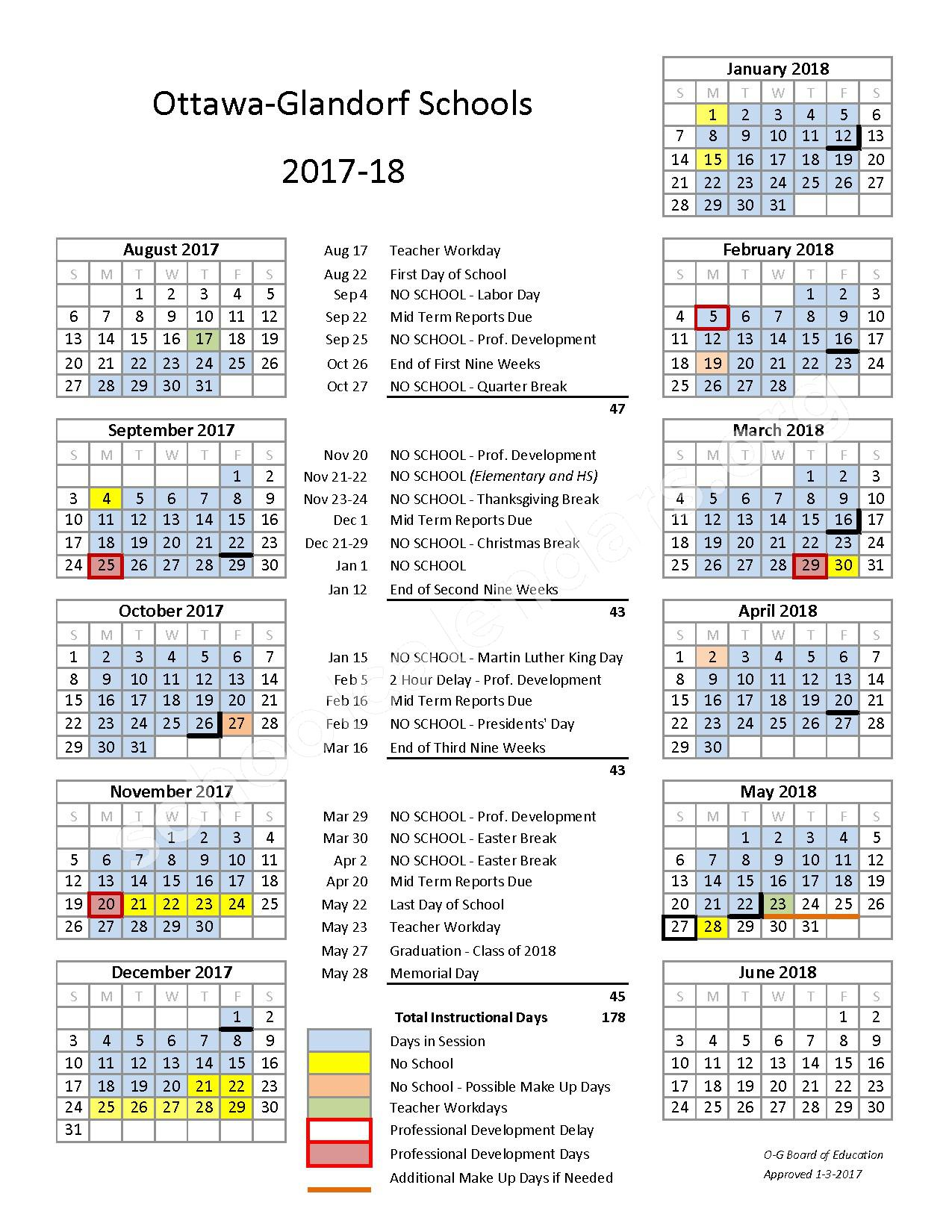 2017 - 2018 District Calendar – Ottawa-Glandorf Local School District – page 1