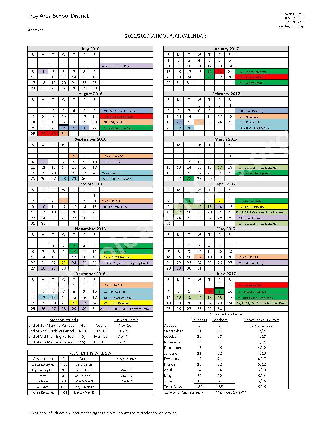 2016 - 2017 District Calendar – Troy Area School District – page 1