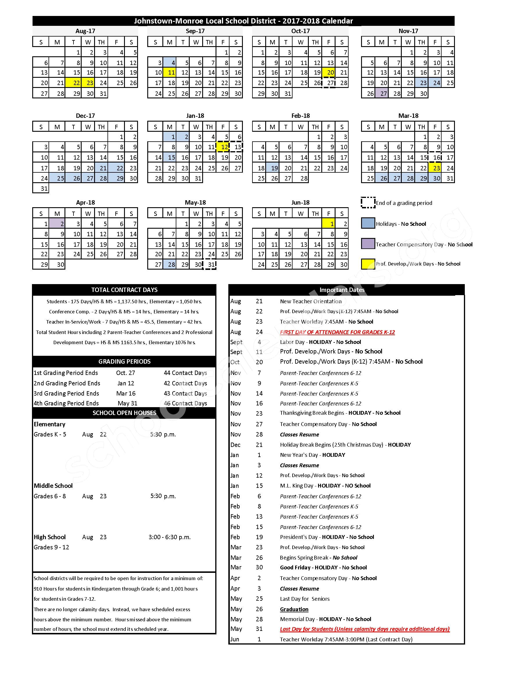 2017 - 2018 School Calendar – Johnstown High School – page 1
