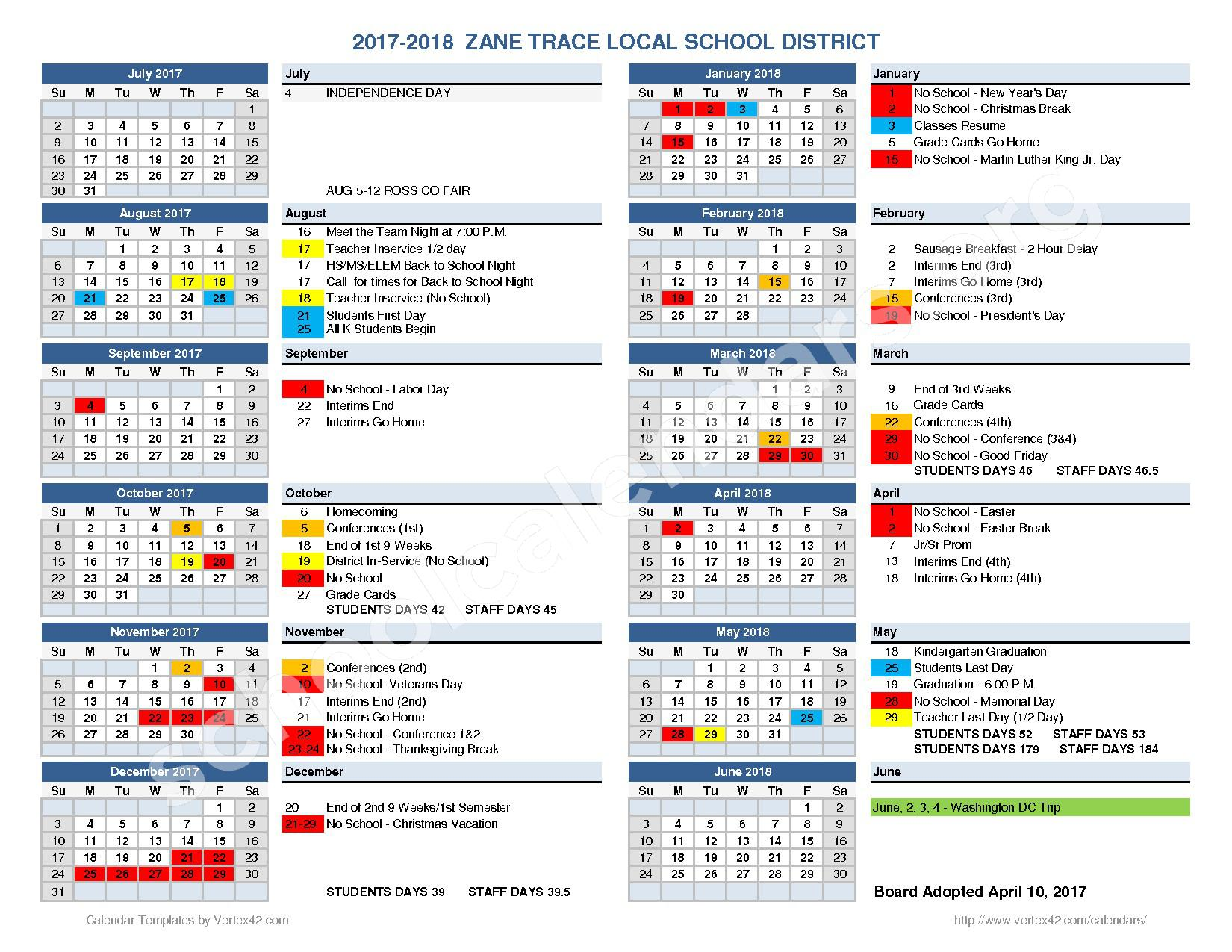 2017 - 2018 School Calendar – Zane Trace Local Schools – page 1