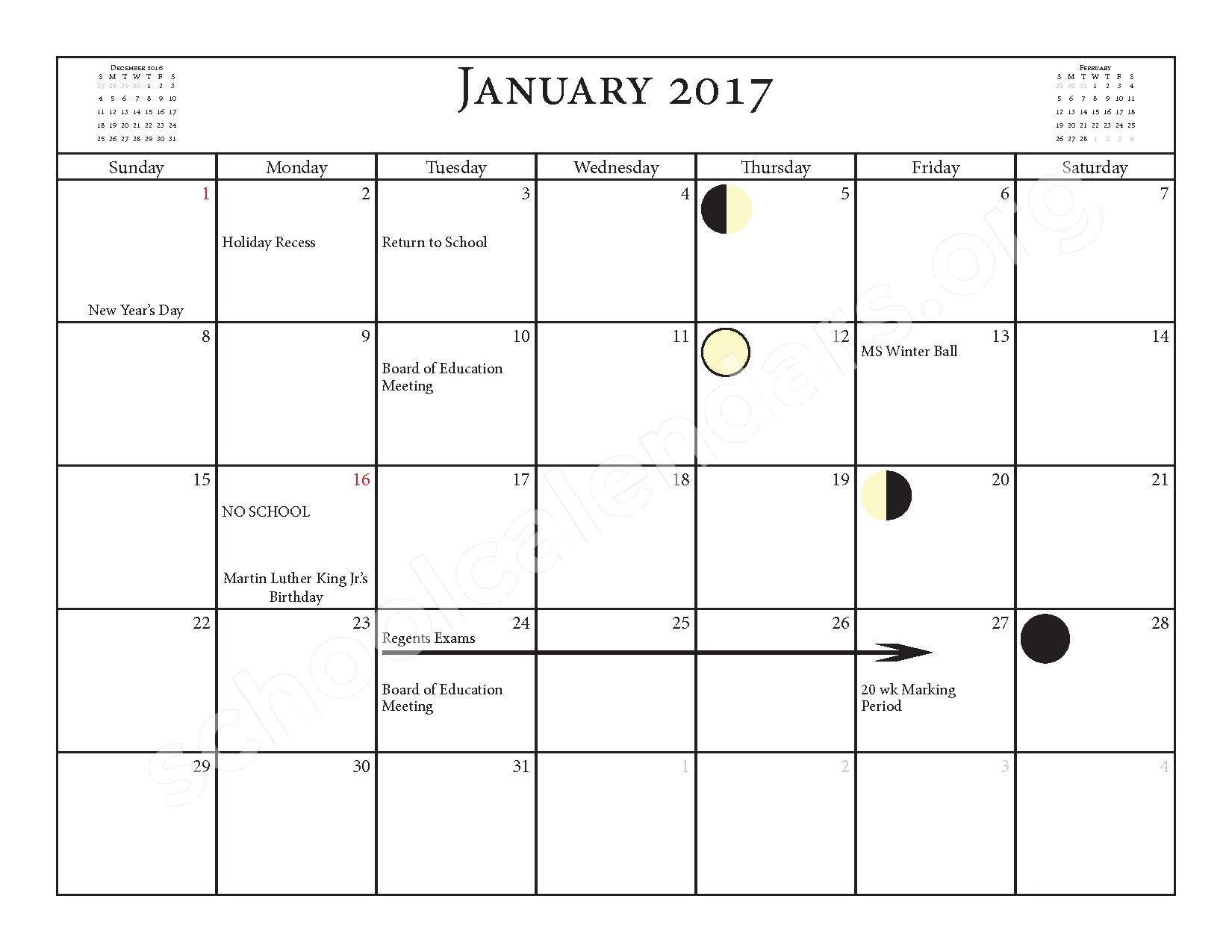 2016 - 2017 School Calendar – Salmon River Central School District – page 11
