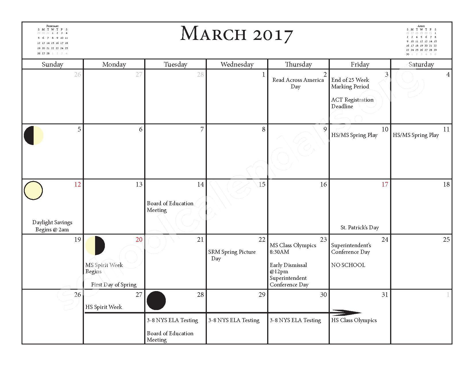 2016 - 2017 School Calendar – Salmon River Central School District – page 15
