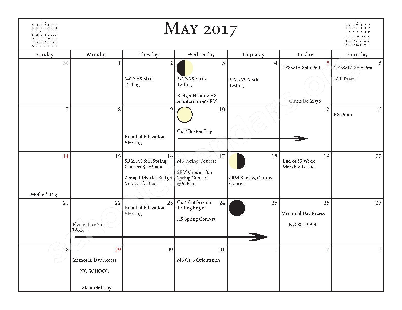 2016 - 2017 School Calendar – Salmon River Central School District – page 19