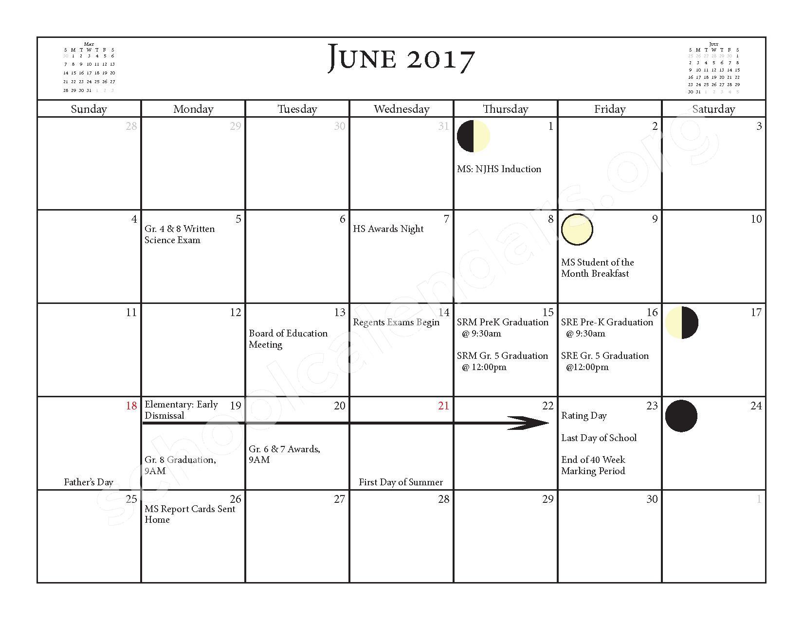 2016 - 2017 School Calendar – Salmon River Central School District – page 21