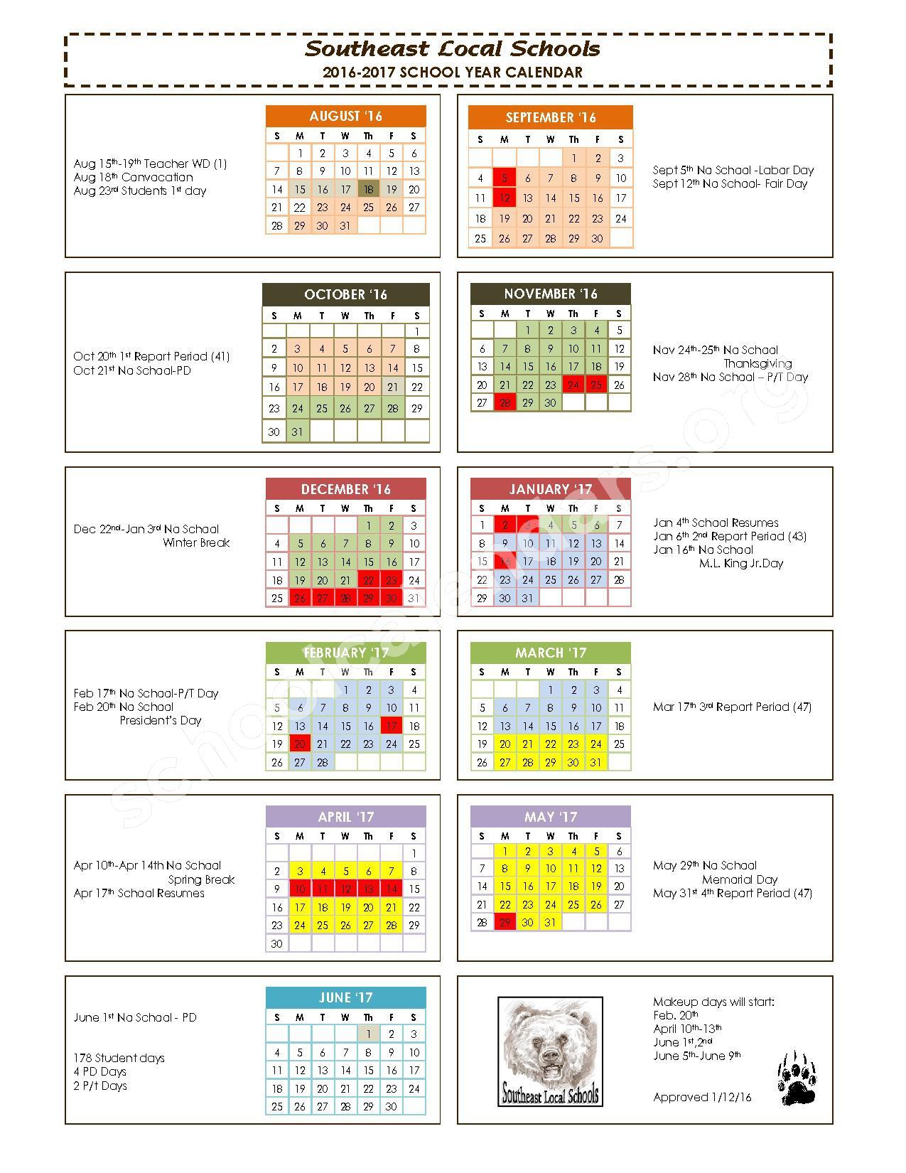 2016 - 2017 School Calendar – Southeast Local School District (Wayne County) – page 1