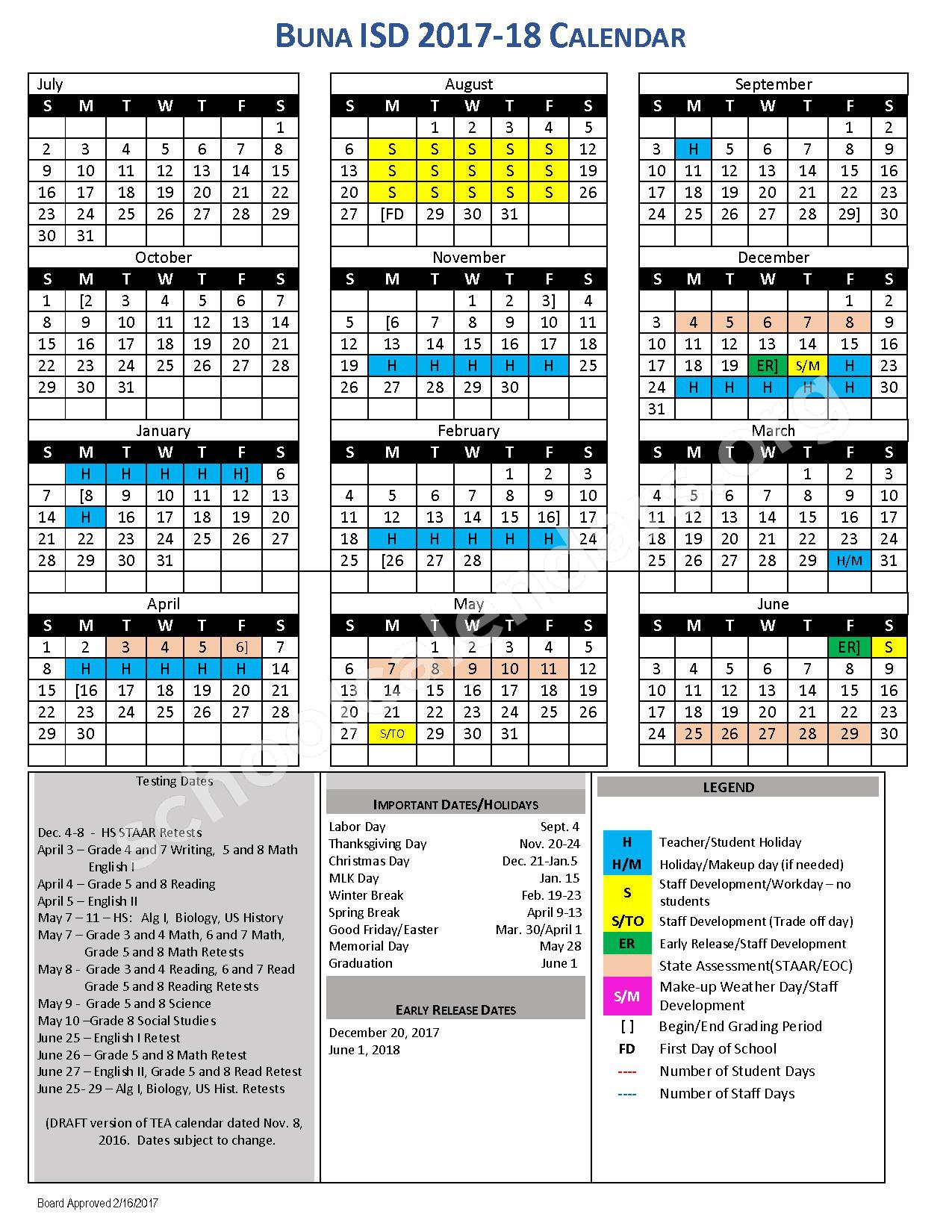 2017 - 2018 School Calendar – Buna Independent School District – page 1