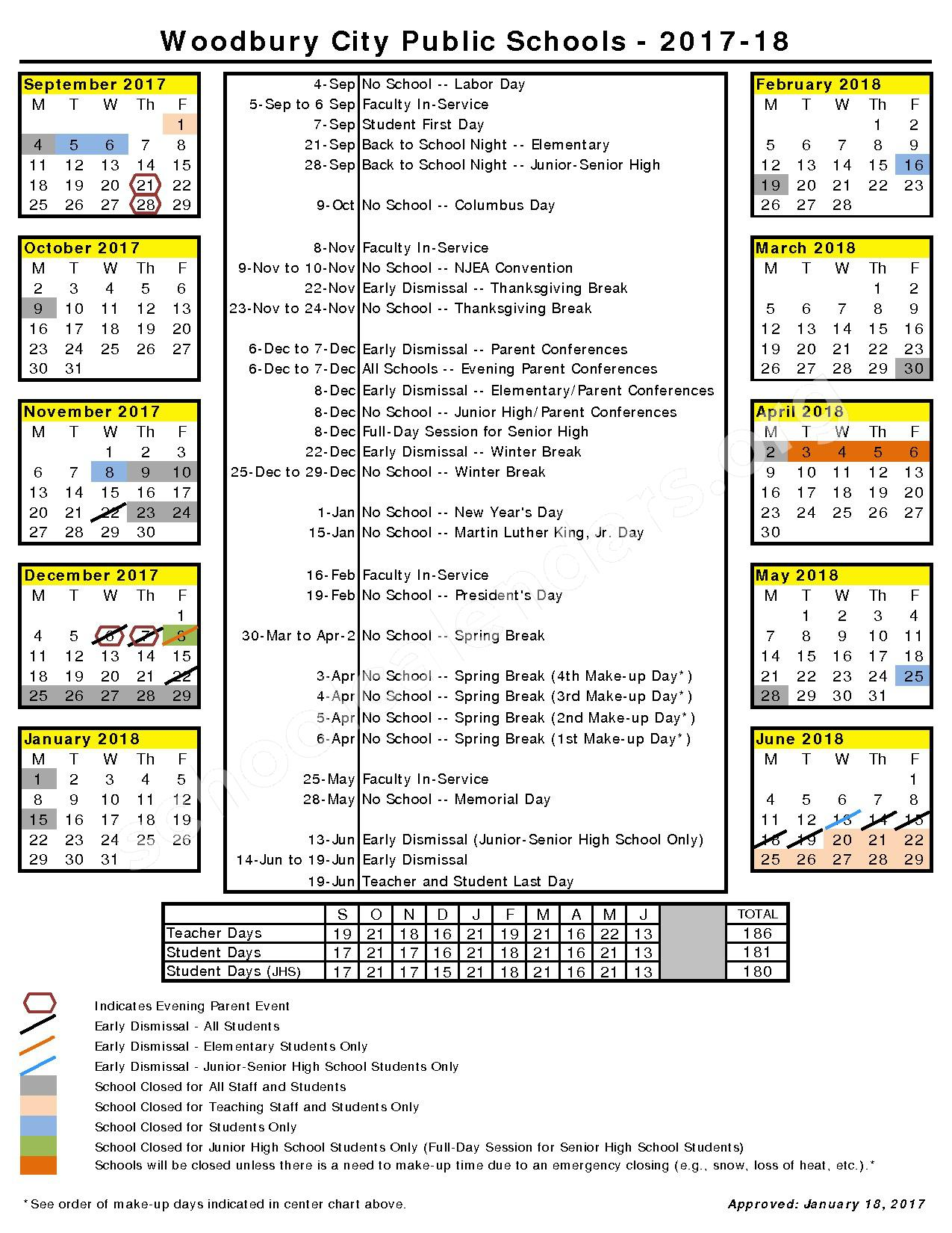 2017 - 2018 School Calendar – West End Memorial Elementary School – page 1