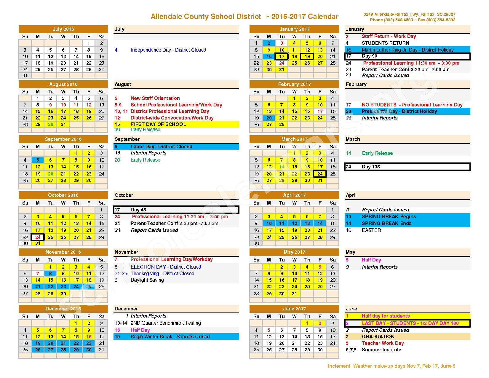 2016 - 2017 District Calendar – Allendale County School District  – page 1