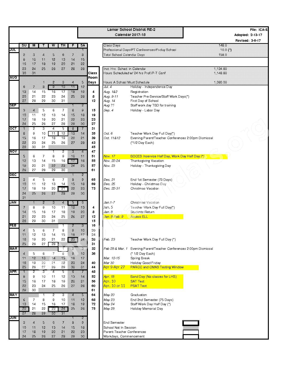 2017 - 2018 District Calendar – Lamar School District RE-2 – page 1