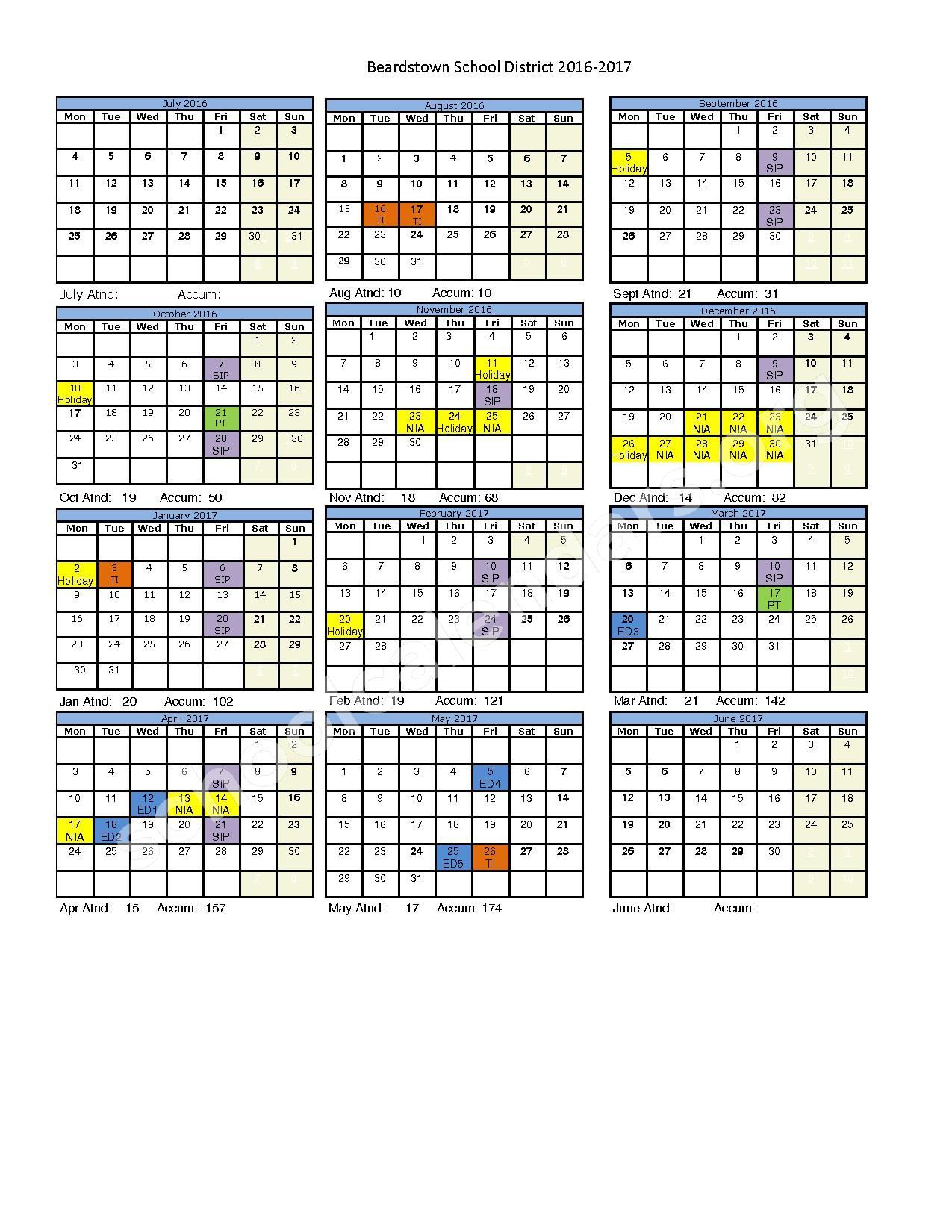 2016 - 2017 School Calendar – Beardstown Junior / Senior High School – page 1