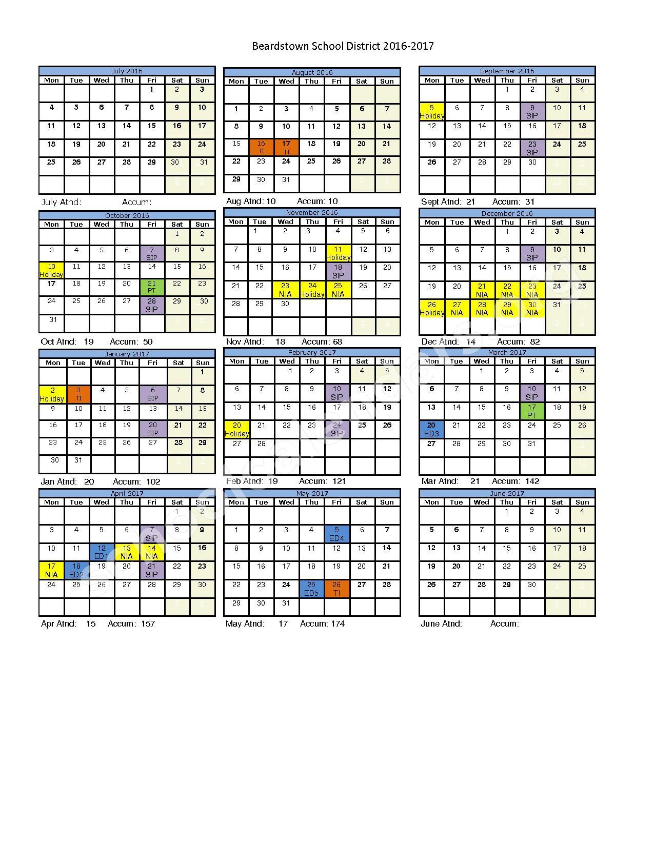 2016 - 2017 School Calendar – Beardstown Junior / Senior High School – page 1