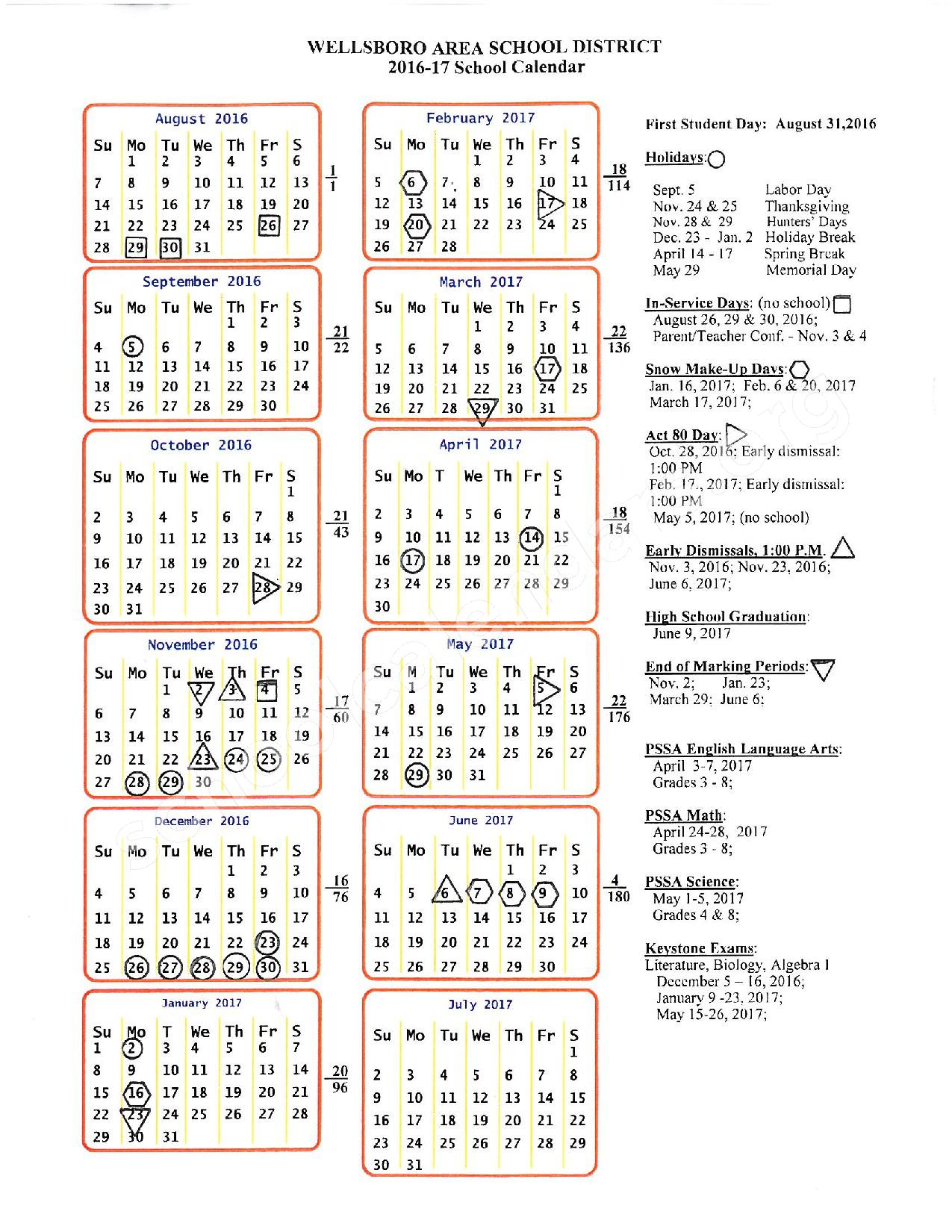 2016 - 2017 District Calendar – Wellsboro Area School District – page 1