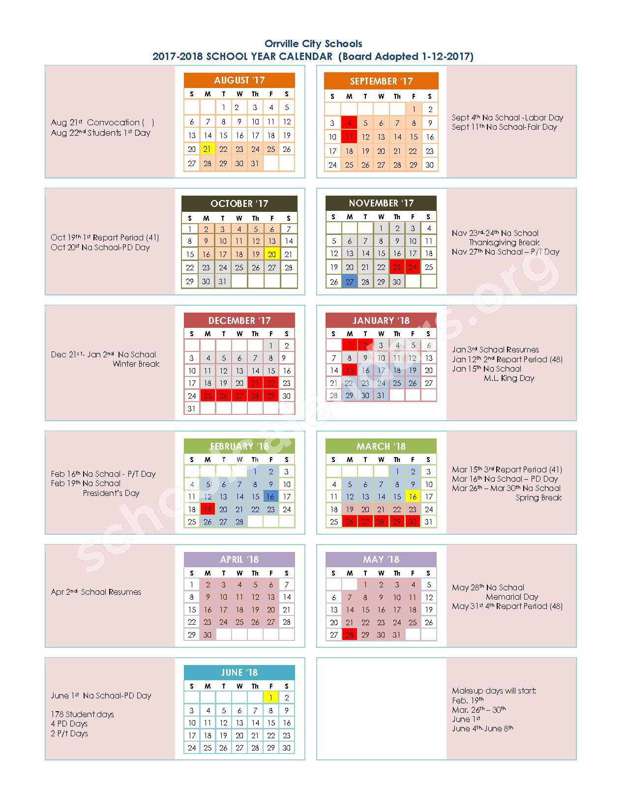 2017 - 2018 District Calendar – Orrville Elementary School – page 1