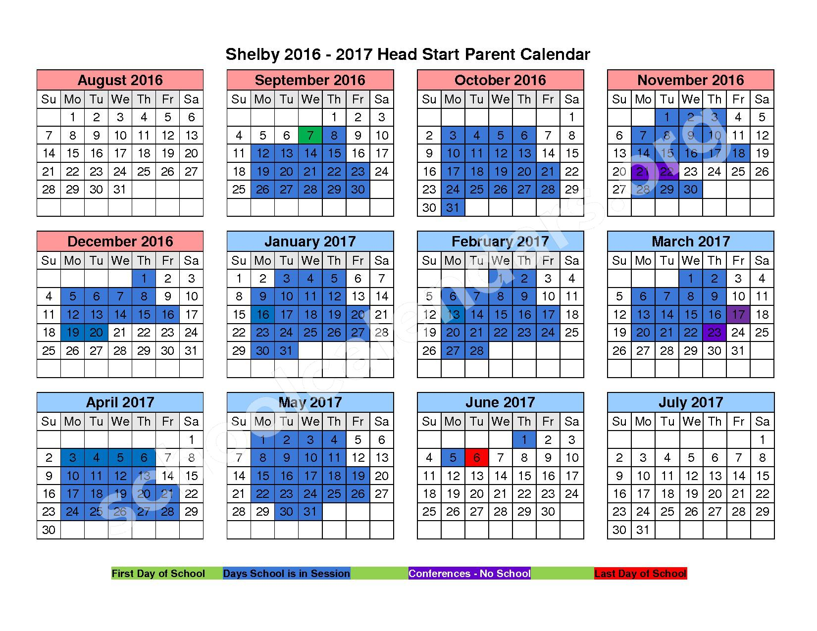 2016 - 2017 District Calendar – Shelby Public Schools – page 1