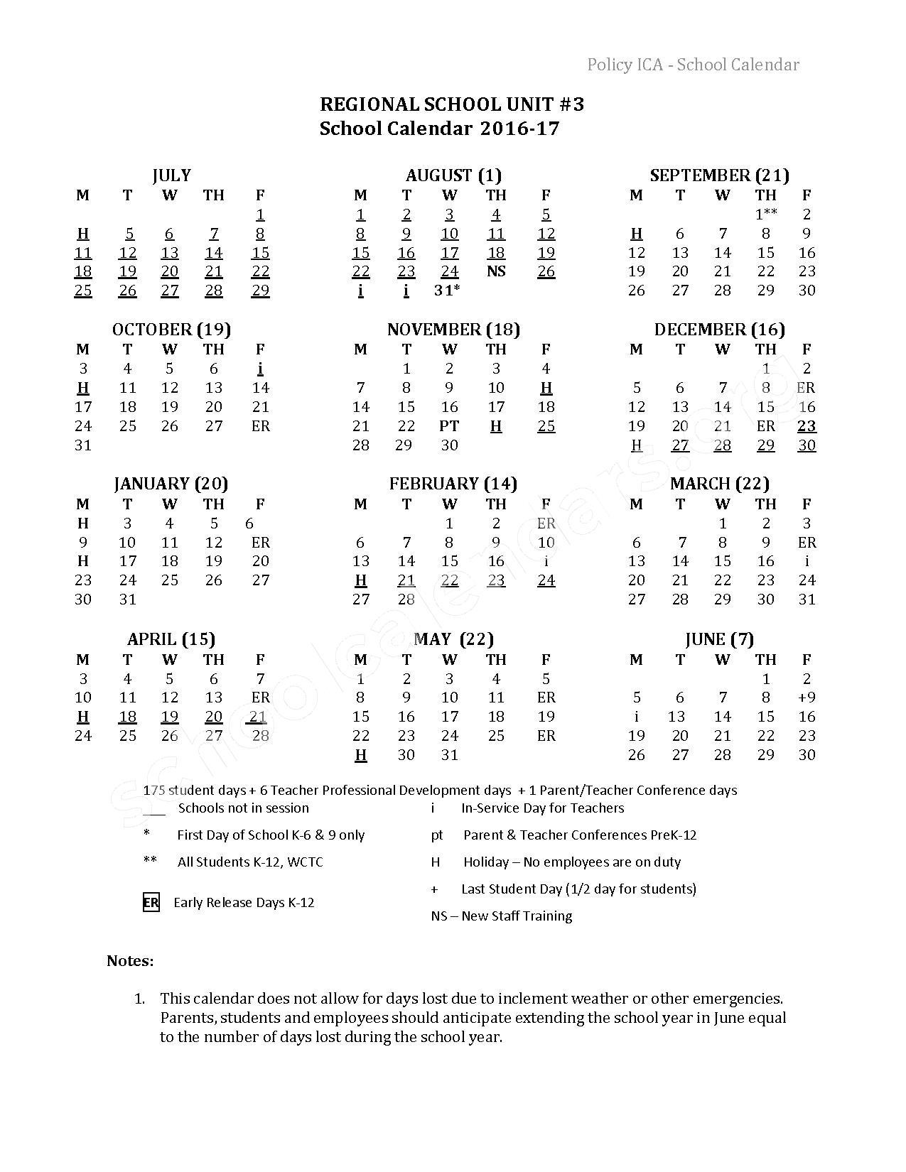 2016 - 2017 School Calendar – Mt View Elementary School – page 1