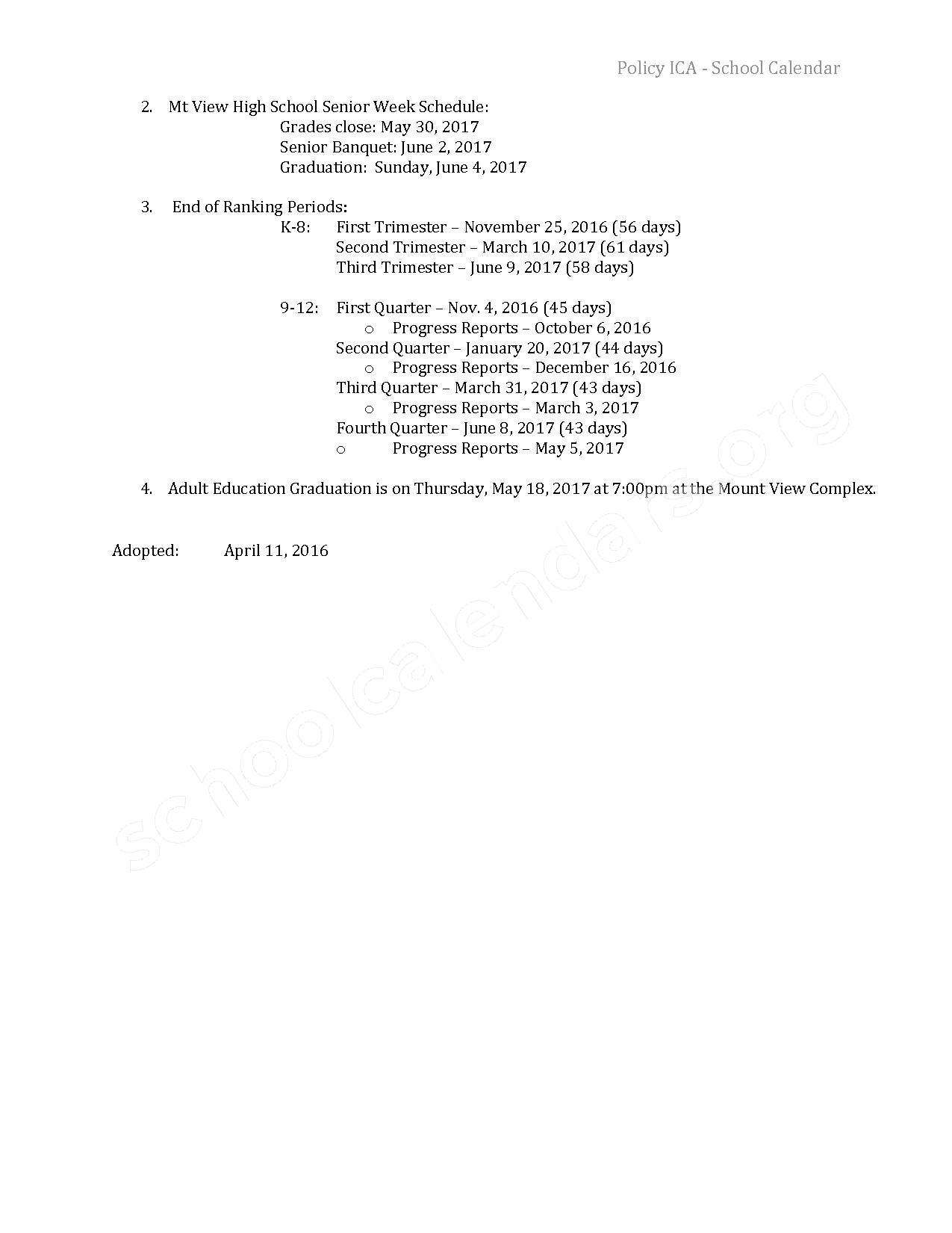 2016 - 2017 School Calendar – Mt View High School – page 2