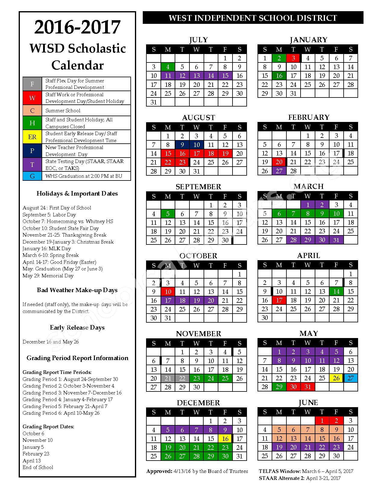 2016 - 2017 School Calendar – West Independent School District – page 1