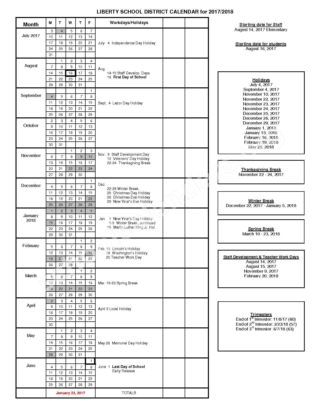 2017 - 2018 School Calendar – Liberty Elementary School District – page 1