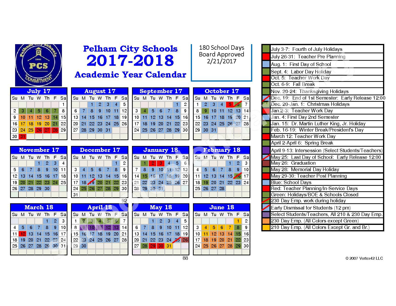 2017 - 2018 School Calendar – Pelham City School District – page 1