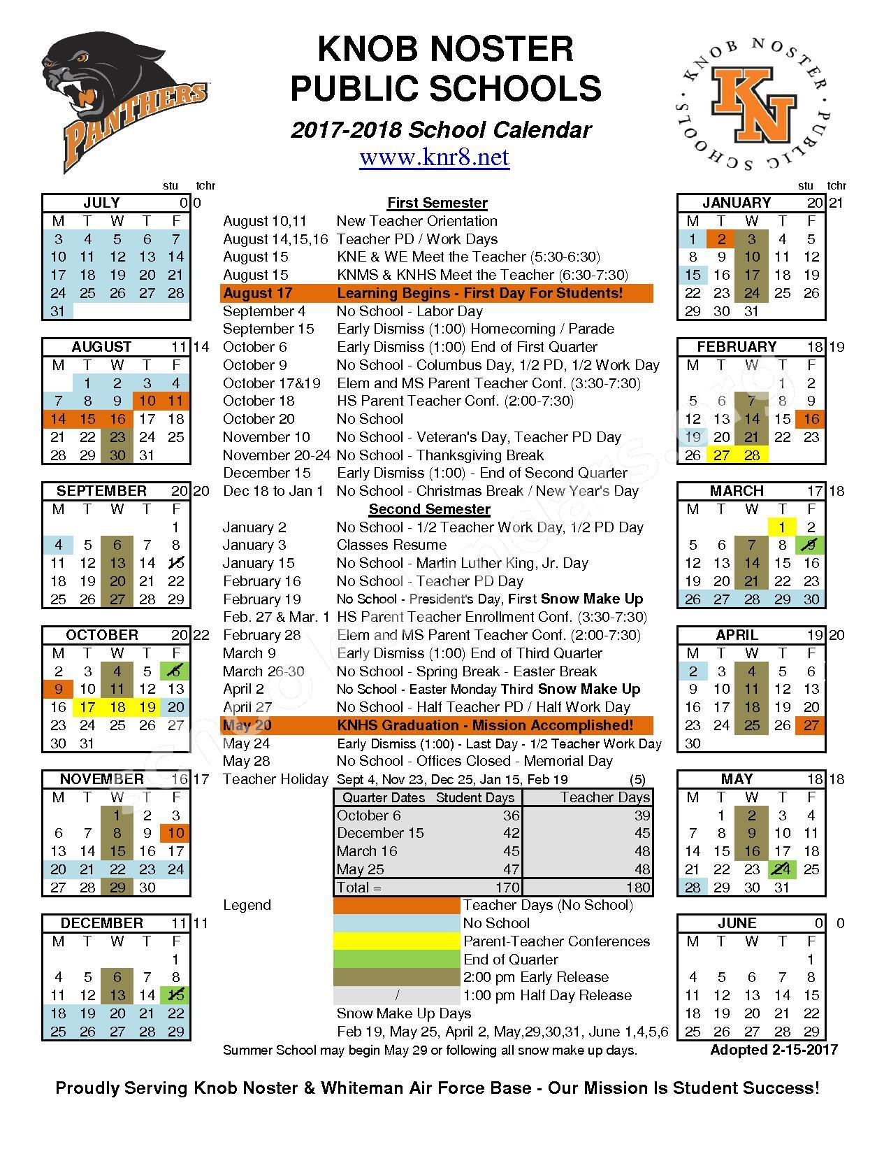 2017 - 2018 School Calendar – Knob Noster Public Schools – page 1