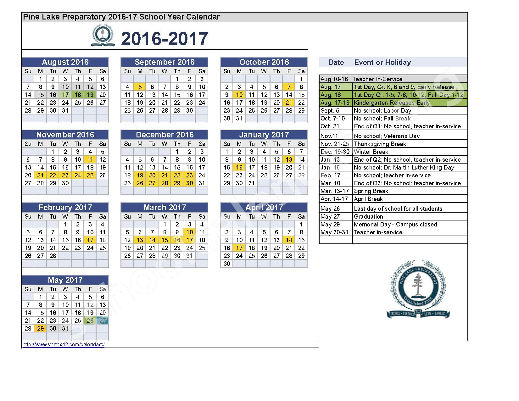 2016 - 2017 School Yer Calendar – Pine Lake Preparatory – page 1