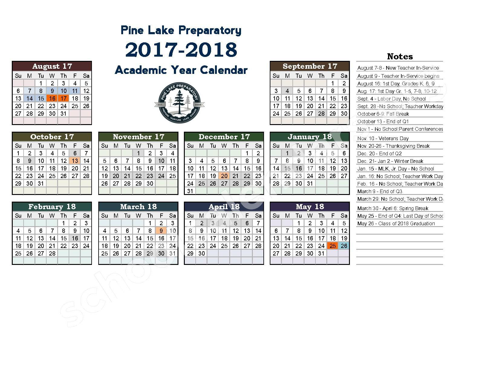 2017 - 2018 School Calendar – Pine Lake Preparatory – page 1